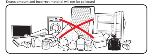 Excess amount and incorrect material will not be collected.