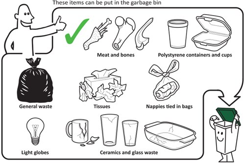 These items can be put in the garbage bin - meat and bones, polystyrene containers and cups, general waste, tissues, nappies tied in bags, light globes, ceramics and glass waste.