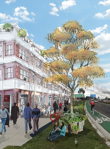 Artist's impression of what the Housing Diversity Strategy's 'Urban renewal' change area may look like, with high and medium-density apartment style housing, possibly above retail and commercial uses.