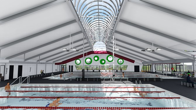 artist's impression of the pool hall. People are swimming in the pool