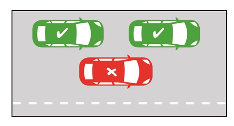 image depicts car double parking illegally.